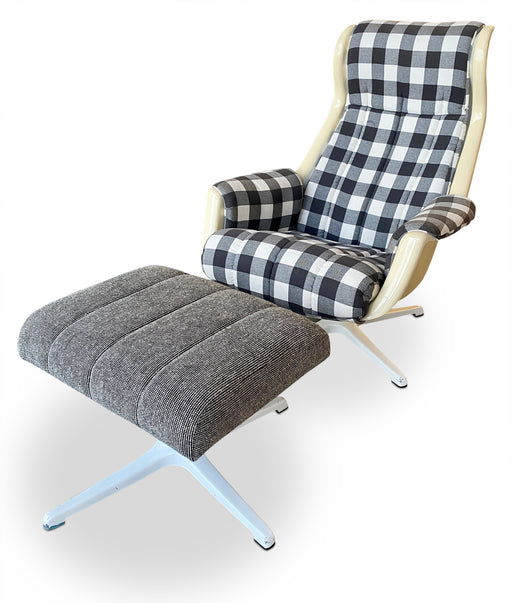 Gingham Lounge Chair + Ottoman by Alf Svensson for Dux