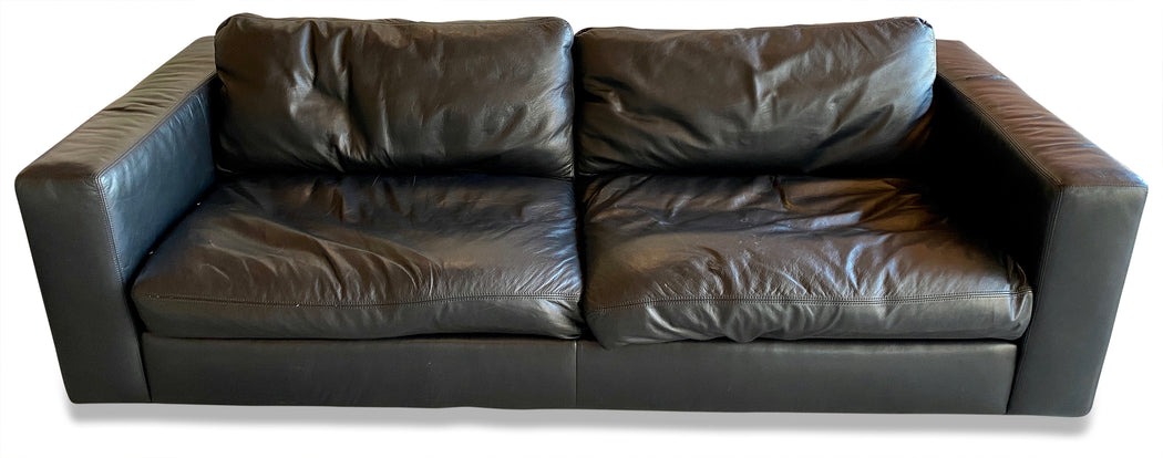 DWR Black Leather Sofa