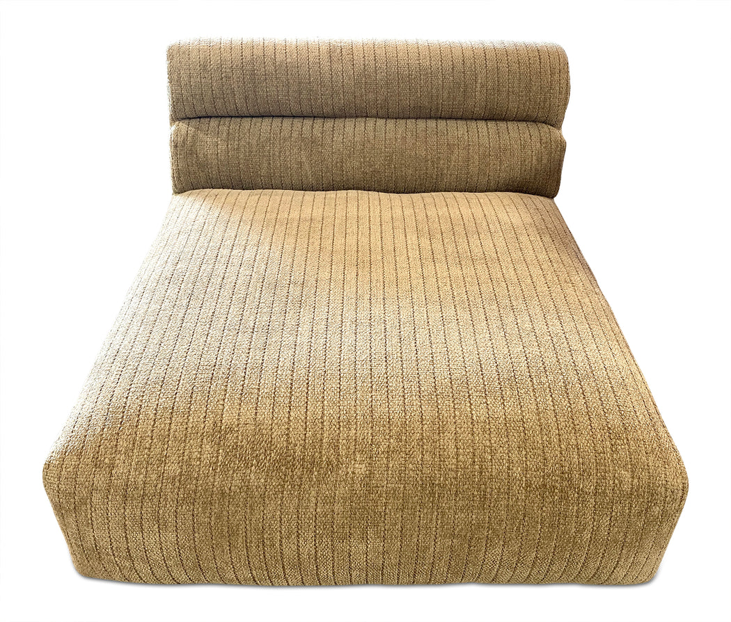 Taupe Striped Velour Chaise