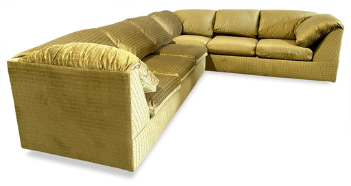 Velvet Grid Pattern Pull-Out Sectional