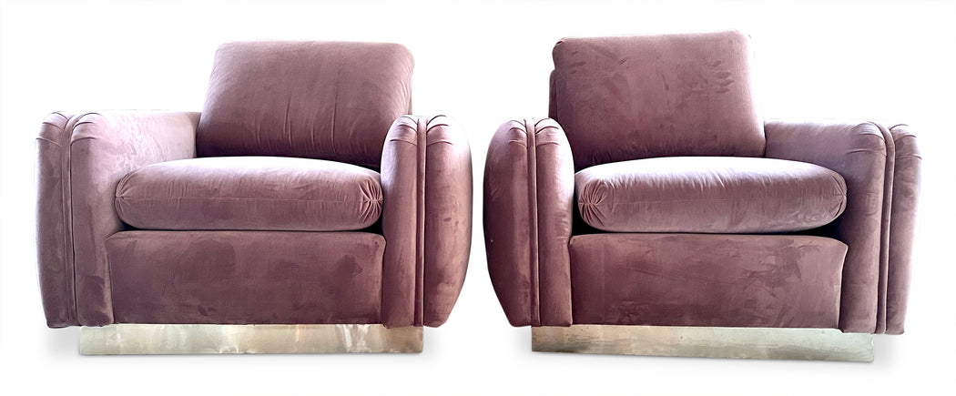 Pair of Mauve Velvet Arm Chairs