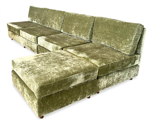 Olive Crushed Velvet Sectional