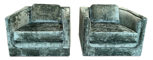 Pair of Teal Crushed Velvet Arm Chairs