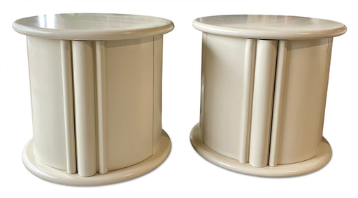 Pair of Round Cream Lacquered Nightstands
