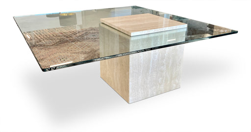 Travertine + Glass Wedged Coffee Table