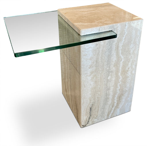 Travertine + Glass Wedged End Table