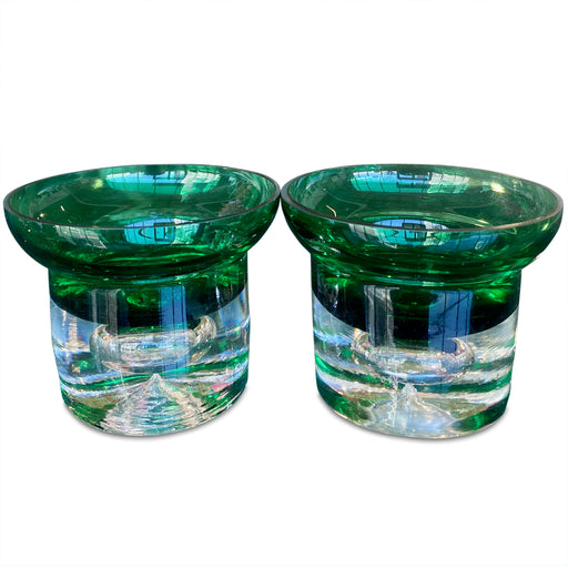 Pair of Green Art Glass Votives