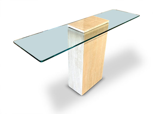 Travertine + Glass Wedged Console