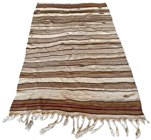 Brown Striped Flat Weave Rug