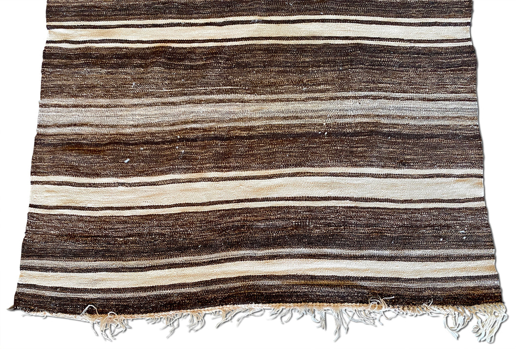 Striped Brown Flat Weave Rug