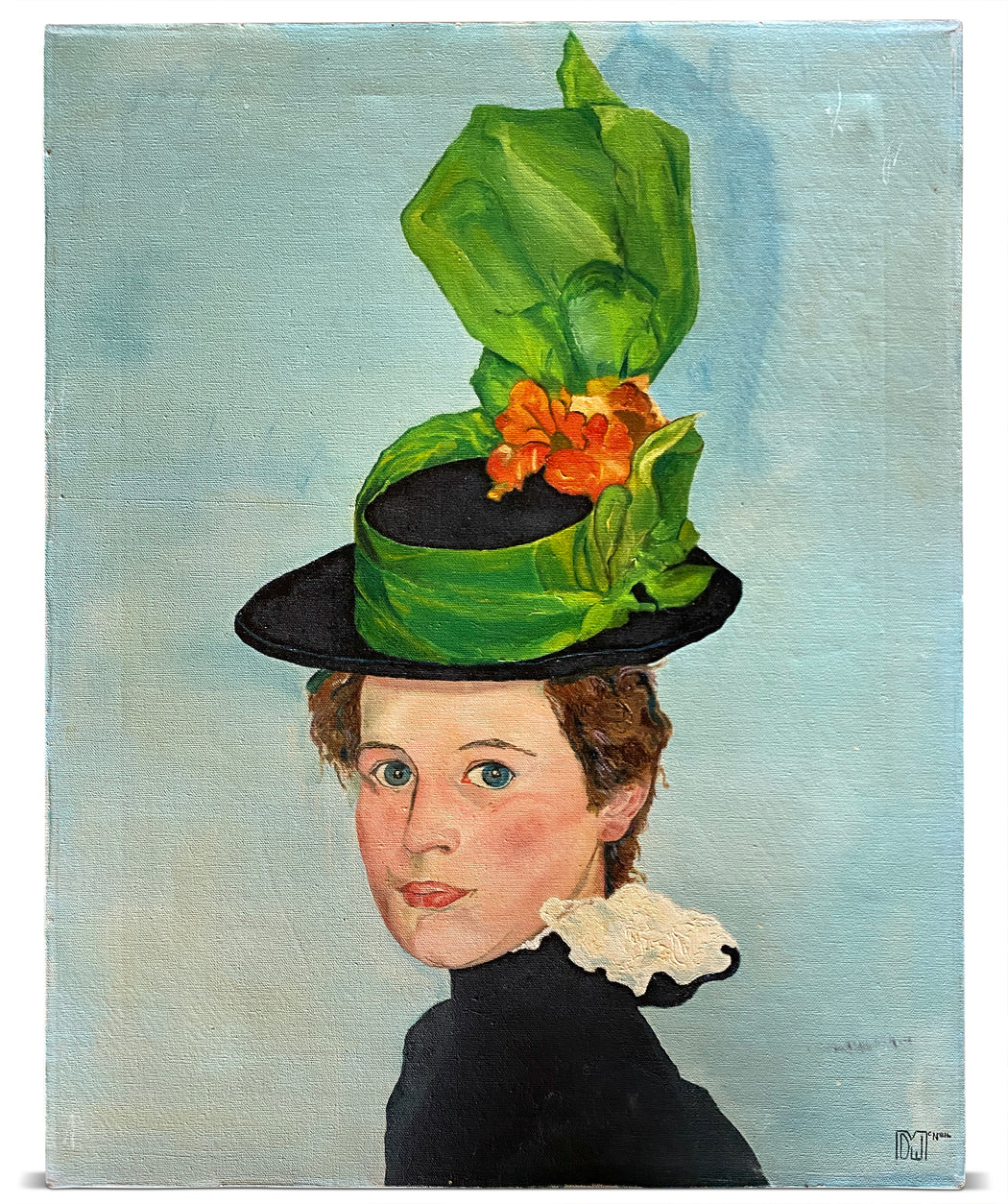 Vintage Painting of Lady with Hat