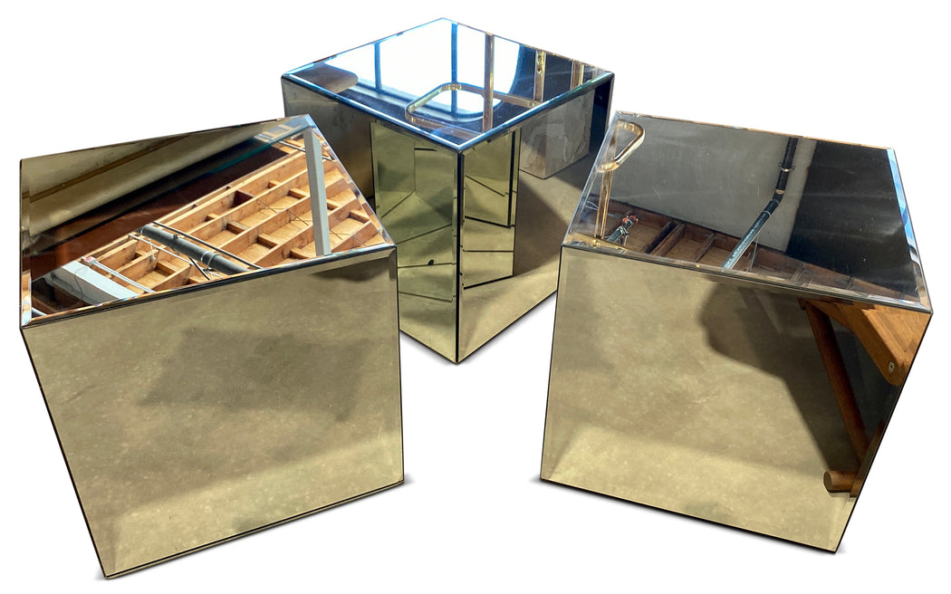 Mirrored Cube End Table