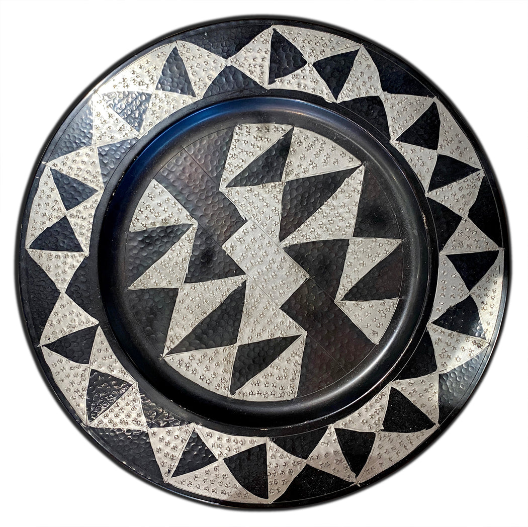 Geometric Hammered Metal Tray