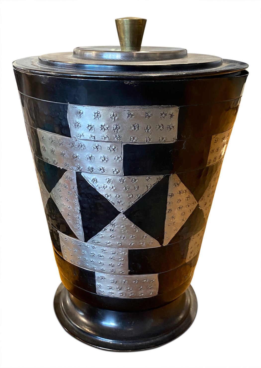 Geometric Hammered Metal Ice Bucket
