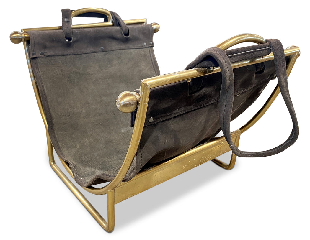 Suede Sling Firewood/Magazine Rack