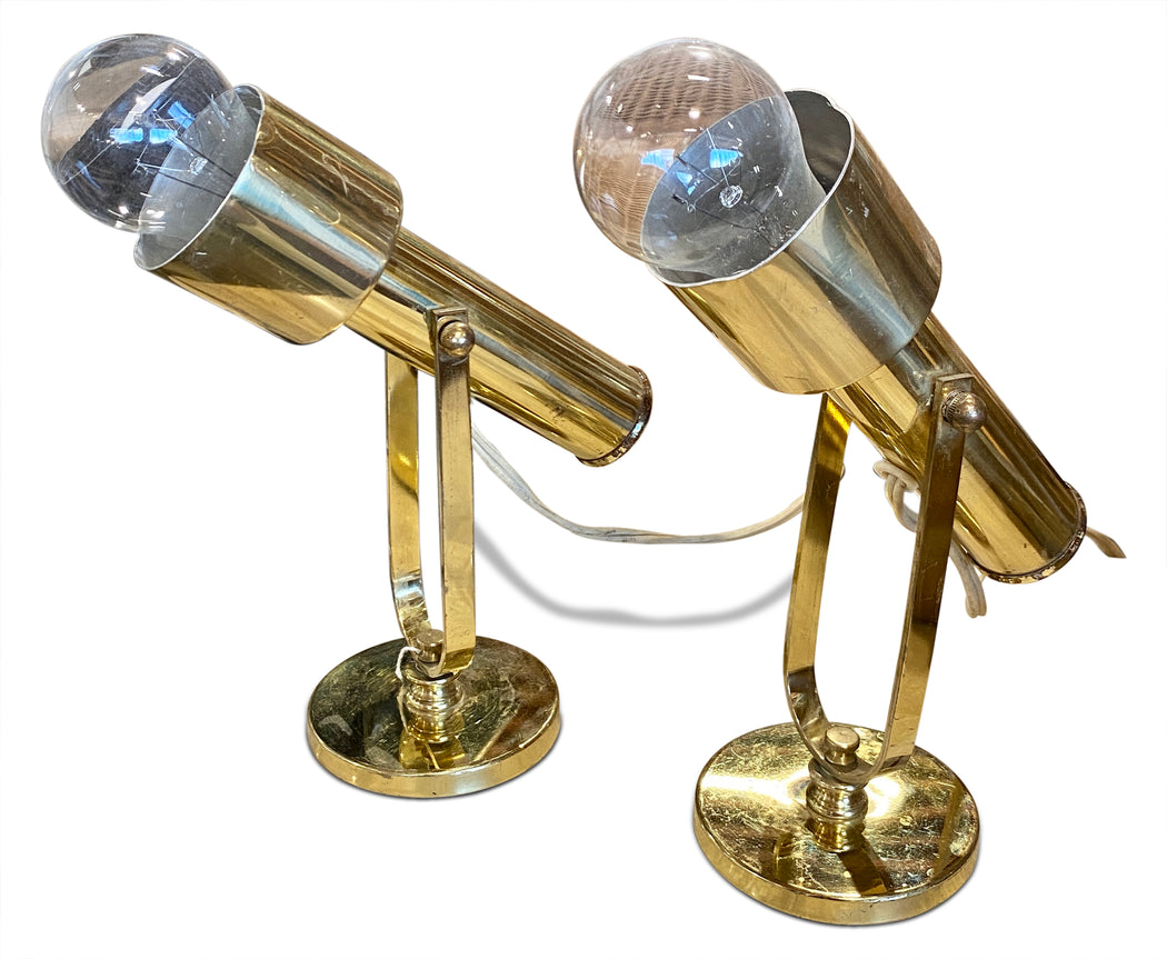 Pair of Brass Spotlight Lamps