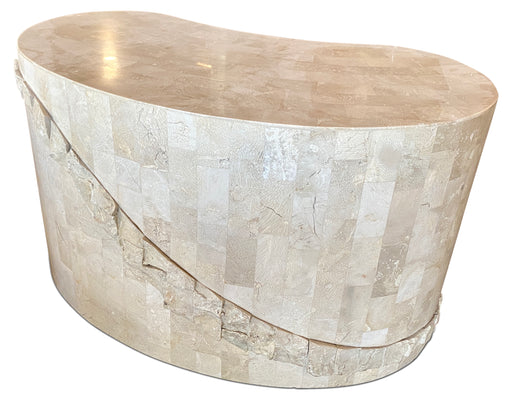Oblong Faux Stone End Table