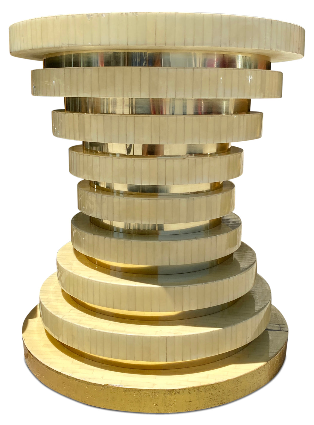 Stacked Bone Circle End Table