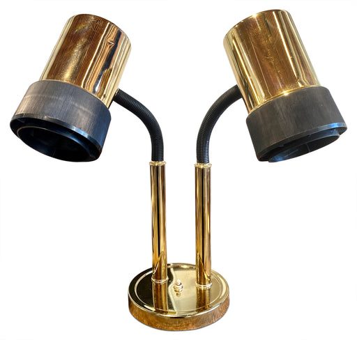 2-Light Brass Table Lamp