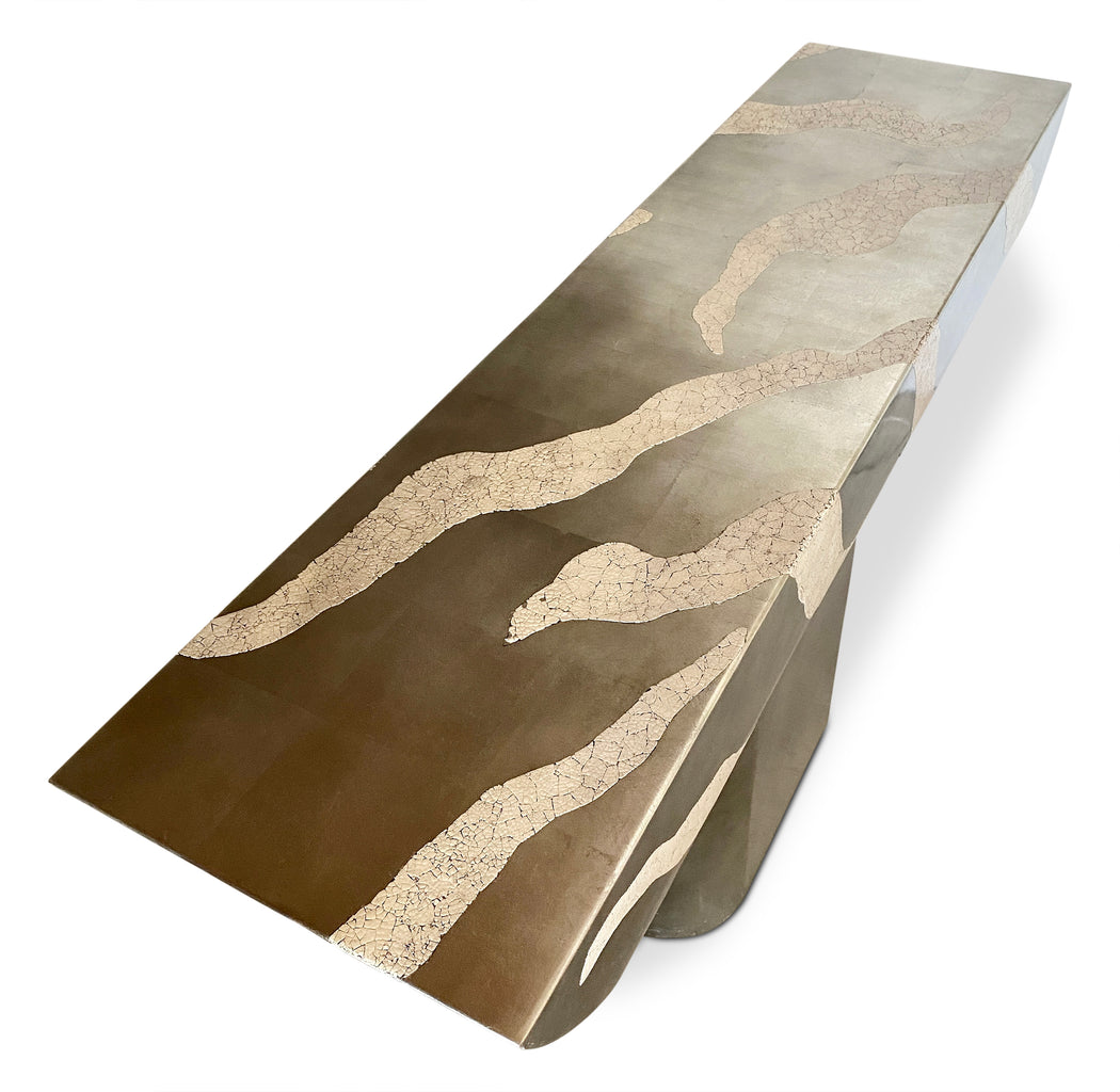 Striped Silver Finish Console