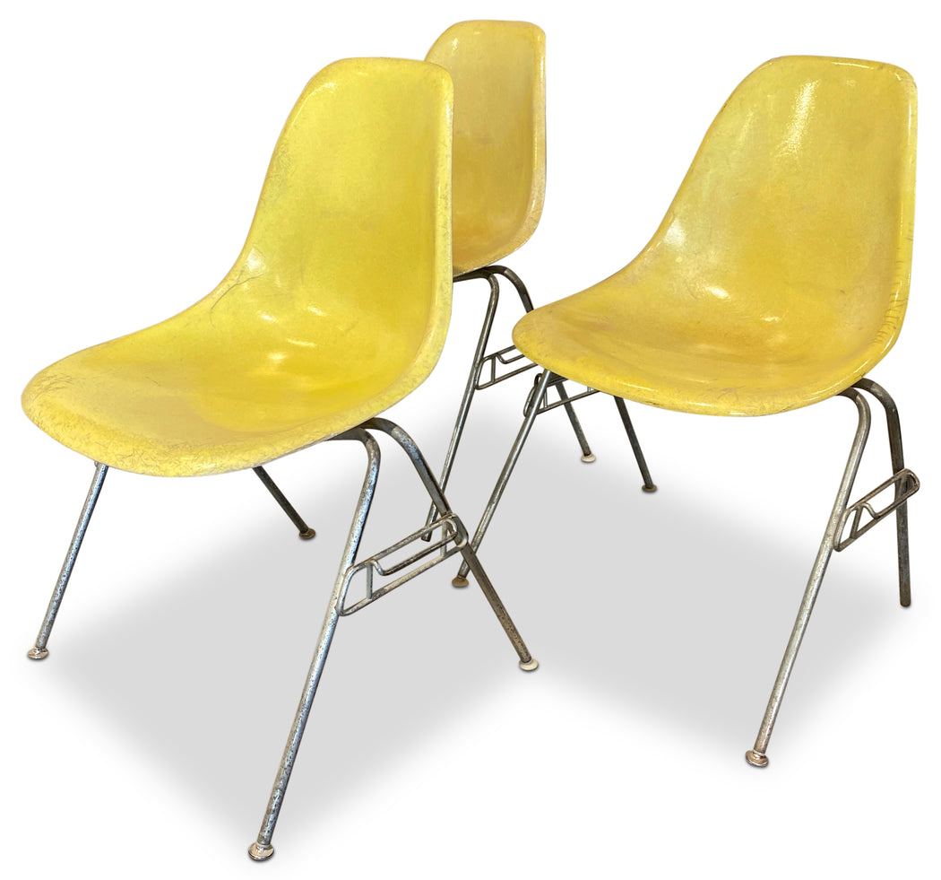 Yellow Molded Fiberglass Herman Miller Chair