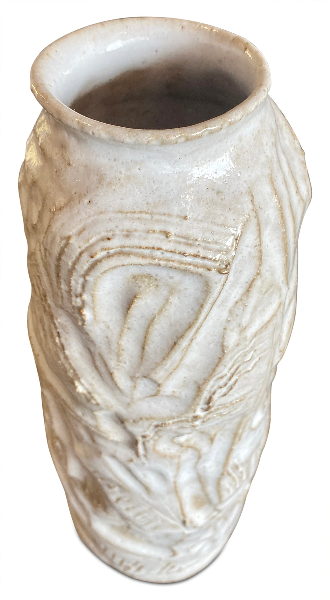 White Textured Abstract Ceramic Vase