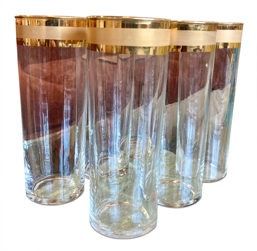 Set of 5 Gold Ribbon Highball Glasses