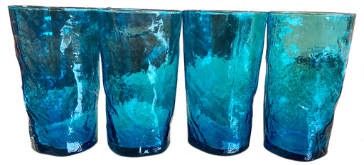 Set of 4 Blue Textured Glasses