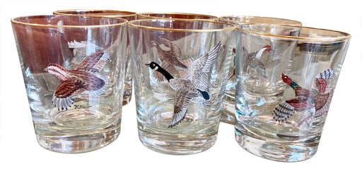 Set of 6 Gold Rimmed Tumblers w Birds