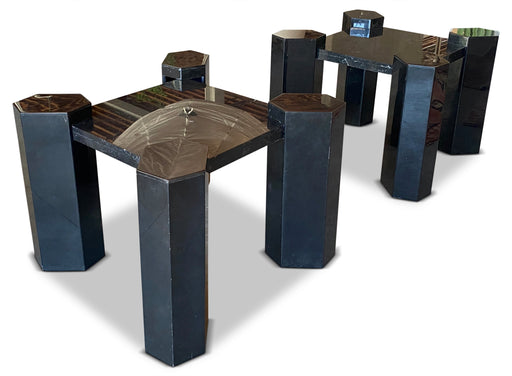 Pair of Black Marble Post Modern End Tables