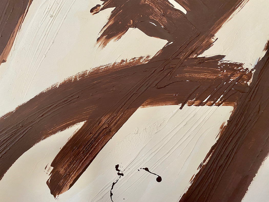 Brown Strokes Abstract Painting