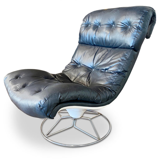 Black Leather Armless Lounge Chair