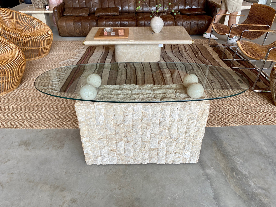 Mactan Stone Console w Glass Top