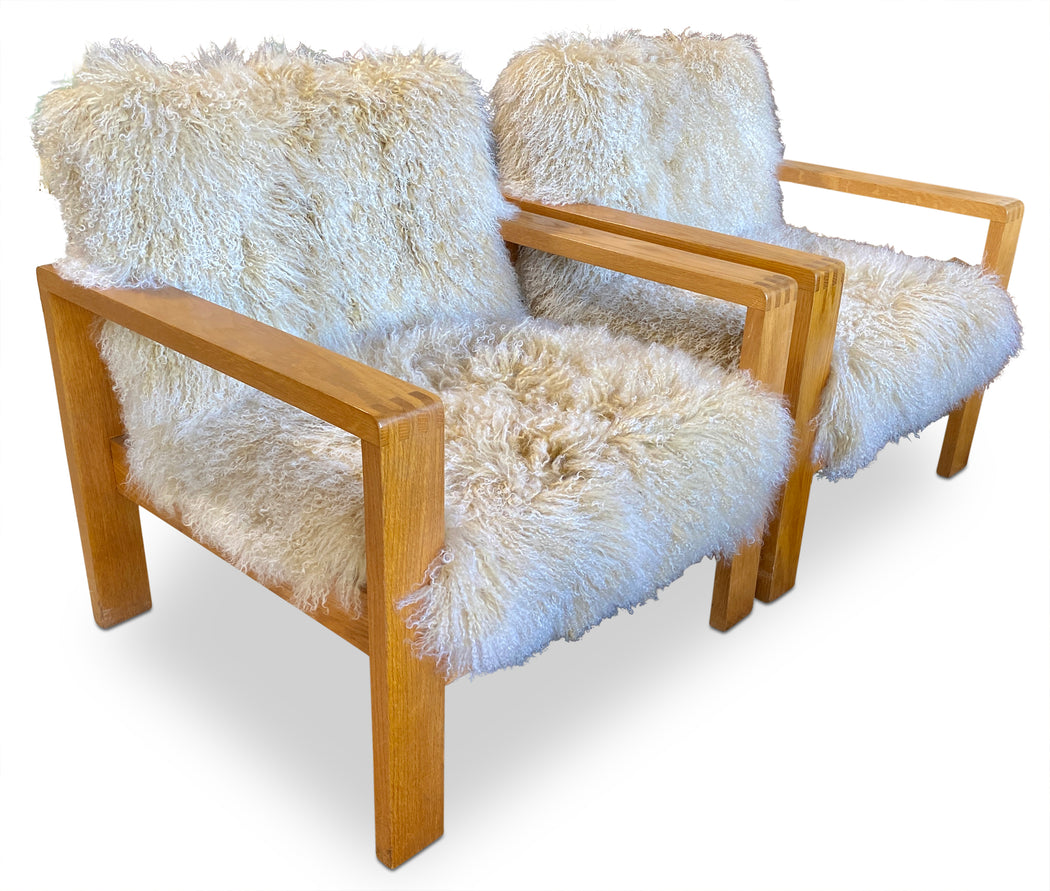 Pair of Mongolian Lamb Wool Arm Chairs