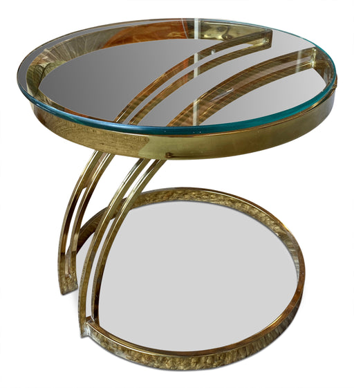 Round Brass + Glass End Table