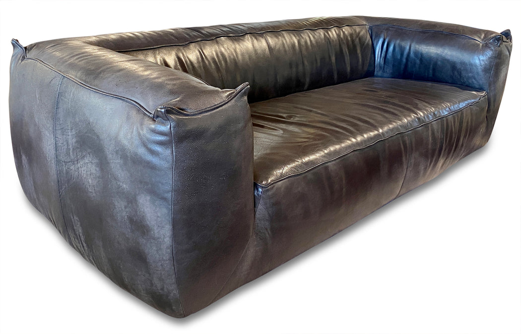Timothy Oulton Black Leather 'Jumper' Sofa