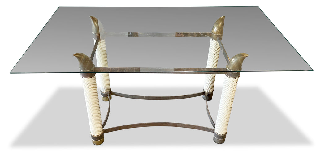 Italian Regency Style Brass Horned Desk w Glass Top