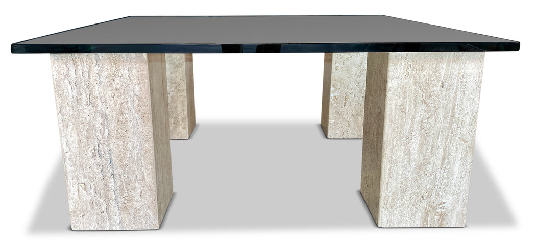 Travertine Pillars Coffee Table
