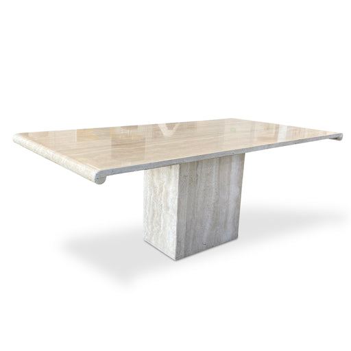 Italian Scroll Top Travertine Dining Table