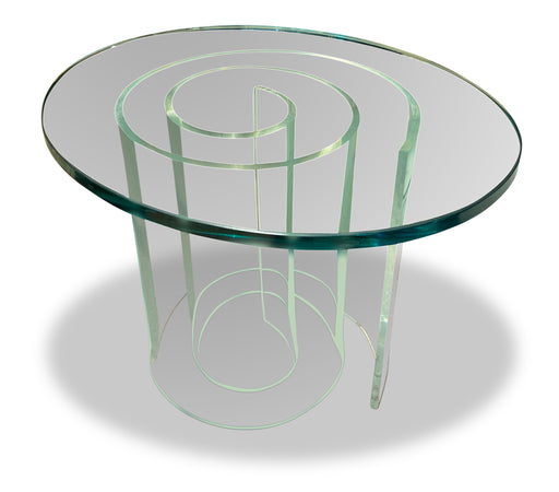 Spiral Lucite Base End Table
