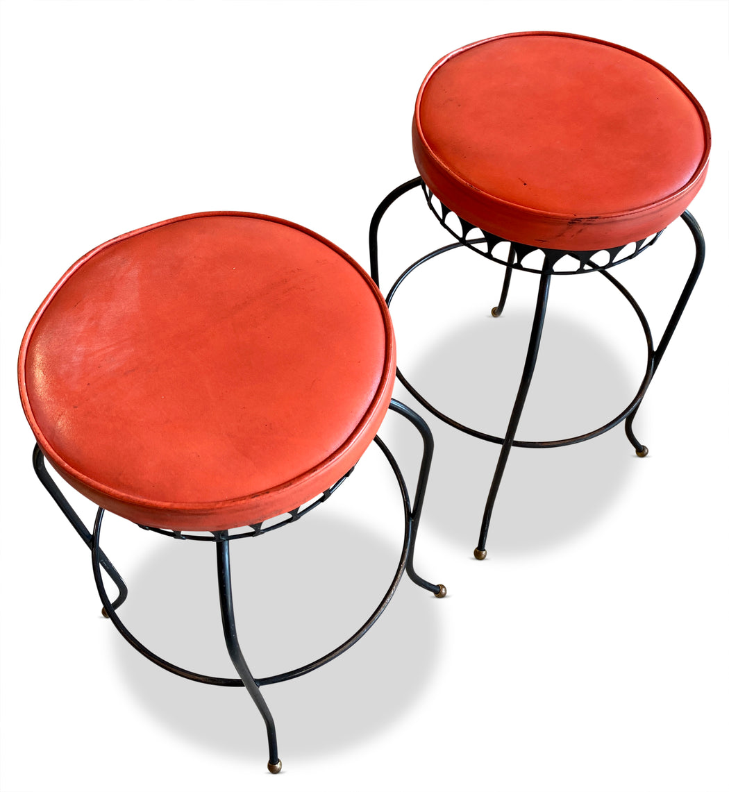 Pair of Red Vinyl + Iron Barstools by Thinline
