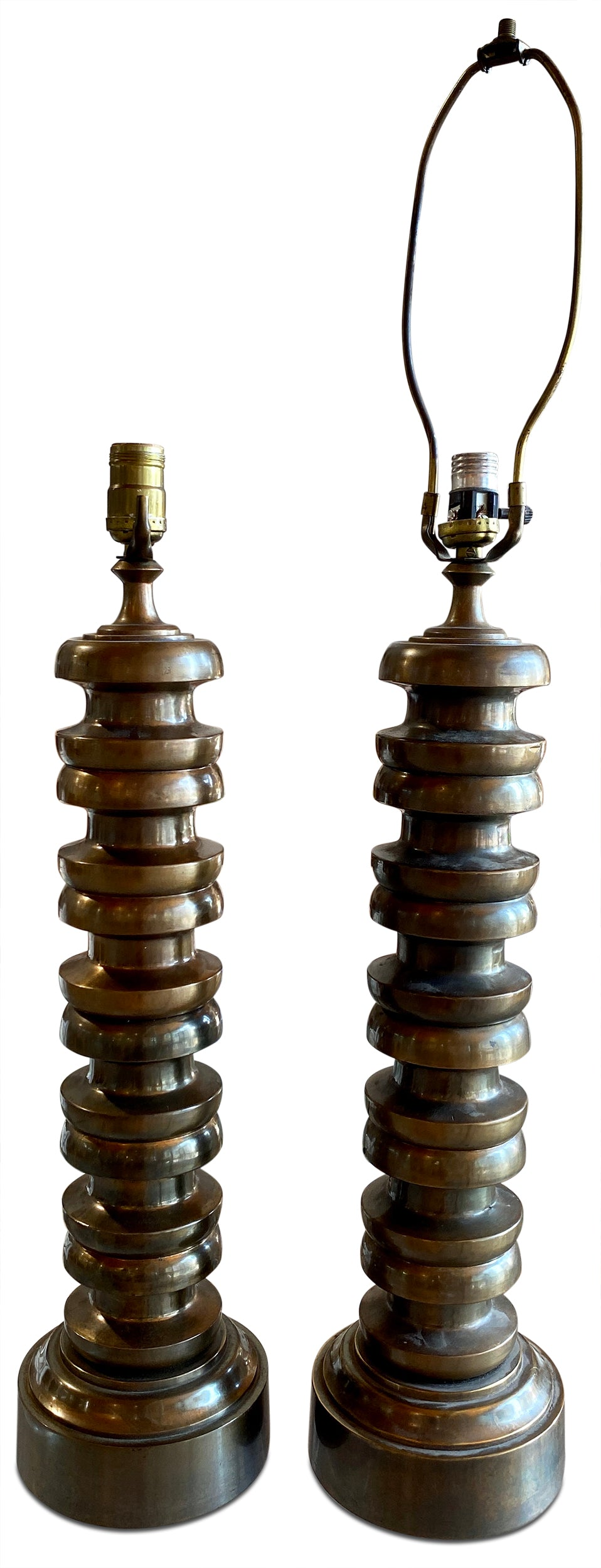 Pair of Stacked Brass Lamps
