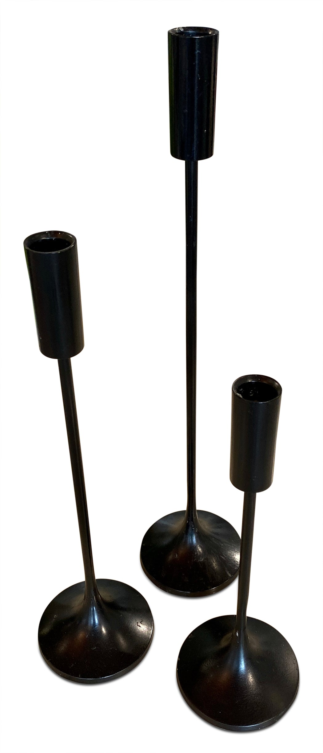 Trio of Steel Candlesticks