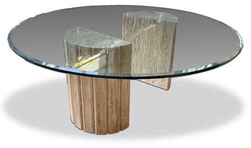 Round Travertine Column Dining Table