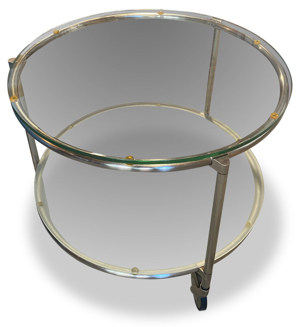 Round Two-Tiered Glass End Table