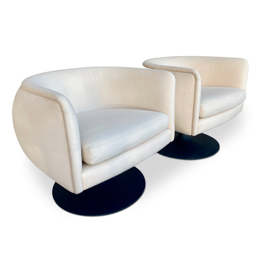 Pair of White Upholstered Barrel Chairs