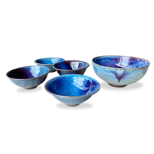 Set of 5 Blue Glazed Ceramic Bowls