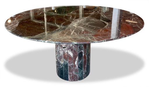 Round Marble Dining Table w Tessellated Base