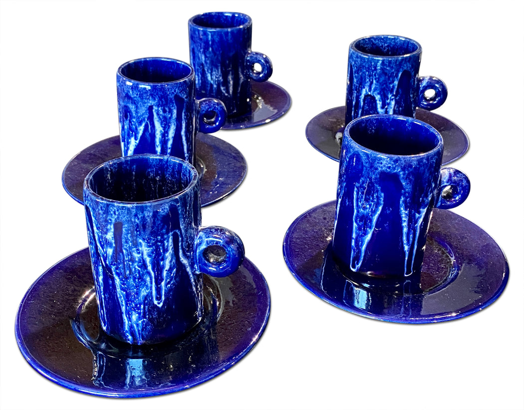 Set of 5 Blue Glazed Ceramic Cups + Saucers