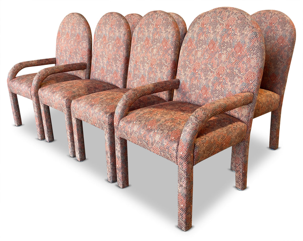 Set of 8 Peach Deco Dining Chairs